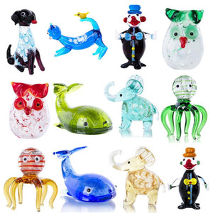 H&D 12 Styles Hand Blown Cute Animal Figurines Murano Art Glass Miniatures Collection Dollhouse Ornament Christmas Gift For Kids