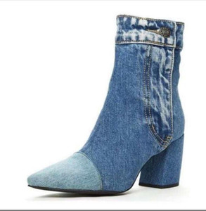 Hot Sale-women mid-calf boots chaussure high heels denim jean pumps plus size pointed toe booties shoes woman zapatos mujer sapato