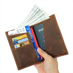 100% Genuine Leather Men Wallet Crazy Horse Leather Passport Holder Wallet Vintage Male Leather Purse Boarding Card Holder