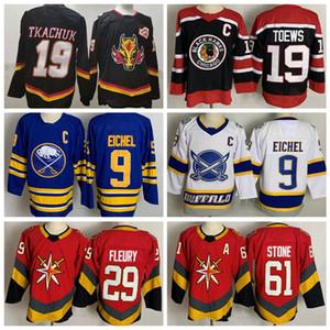 Geri Retro Hokeyi Calgary Flames 19 Matthew Tkachuk Jersey Chicago Blackhawks Jonathan Toews Jack Eichel Marc Andre Fleury Mark Stone