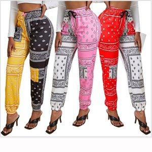 STYLISH LADY Bandanna Paisley Print Jogger Pants 2020 Autumn Women High Waist Patchwork Casual Loose Jogger Pants Sweatpants