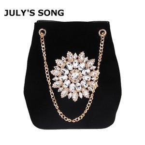 Bolsa para julio en SONG Velour Cubo Mujeres bordado diamante bolso de las señoras elegantes del hombro terciopelo floral cristalina de la cadena bolsas Q1113