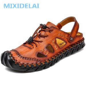Mixidelai Yaz Hakiki Deri Kapı Ayakkabı Erkekler Sandalet El Yapımı Klasik Erkek Yumuşak Yürüyüş Plaj Sandalias Sandal Slaytlar için T200420