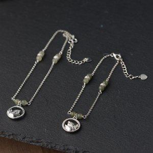 Cervo dorato Re S925 Plain braccialetto Silver Pearl piede catena catena di moda Tian argento perla del loto delle donne Bracciale SJ1lH