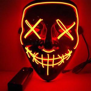 10style El Wire Mask Skull Ghost Masks Flash Resplandor Resplandor Halloween Cosplay LED Mascarilla Partido Masquerade Máscaras Máscaras de Diseñador Mascarillas por Sea GGA3757