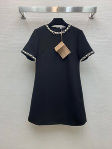 2020 European early spring new heavy industry diamond inlaid pearl necklace decoration a round neck short sleeve dress
