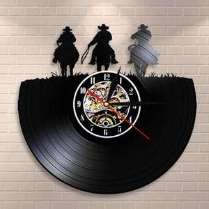 Orologio da parete Wild West Horse Home Decor Tre Cowboys occidentale Wall Art Clock Vinyl Record Horse Rodeo Texas Boots agricoltori Guarda Clock