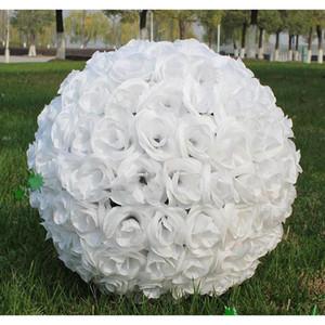 Boule de fleur de soie artificielle artificielle blanche élégante suspendue boules d'embrassement 30cm 12 pouces Ball pour la décoration de fête de mariage Fournitures