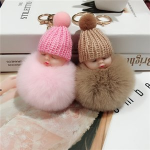 New Pompom sleeping baby keychain cute ffy Plush doll Keychains Women Girl Bag keyrings Cars Key ring Jewelry Gift porte cl