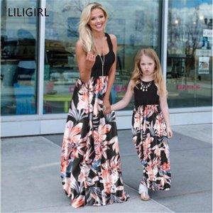 Liligirl Mom and Tochter Kleid ärmelloses lässig Patchwork Blume langes Kleid Mommy und mich Kleidung Mutter Tochter Kleider1
