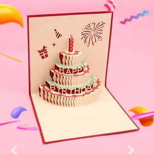 Laser Cut 3D Hollow -up Greeting Card Postcard for Birthday Party Christmas Thanksgiving Day Blessing Cardstock EB001