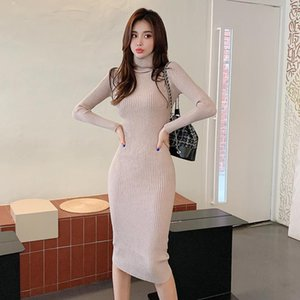 Hayblst Marca Vestido Mujer Vestidos Para Mujeres 2021 Primavera Otoño Punto Ropa Estilo Coreano Paquete de Manga Larga Nalgas Ropa
