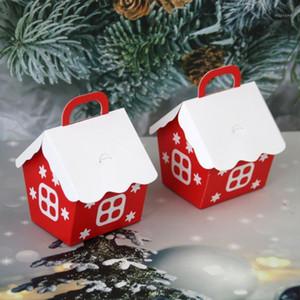25pcs Christmas Red Little House Caja de caramelo Caja preciosa de regalo de Navidad de la moda para el festival de la fiesta de bodas (Navidad R1