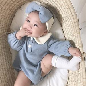 Dibeberabbit Baby Strampler mit Stirnband Neugeborenen Baby Mädchen Kleidung Longsleeve Infant Jumpsuit Baumwolle Kleinkind Baby Playsuit insgesamt 201114
