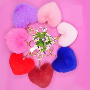 2020 HOT Trendy Heart Ball Pom Pom Keychain Fluffy Faux Rabbit Fur Pompom Key Chains Women Bag Charms Trinket Accessories Keyring
