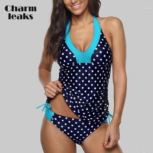 Charmlexs Women Tankini Set Colorblock Купальники Боковые повязки в горошек Купальник мягкий повязку для купания