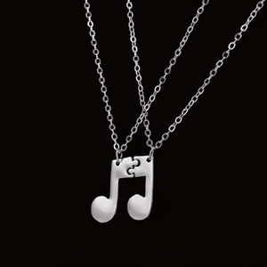 Casal Music Note Necklace Pendant Simples Moda Mulheres Colar do encanto do vintage colares Declaração Jóias BFF presente Melhores Amigos