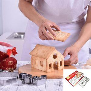 3D Christmas Cookie Cutter Weihnachtsbackformen Edelstahl-Lebkuchen-Haus-Party Bakeware Form-18pcs / lot OWA2270