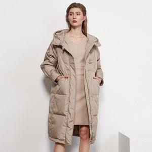 Aachoae Automne Hiver élégant long manteau femmes manches chauve-souris en vrac Casual Parkas Manteau droit capuche Femme Lady vêtement Veste