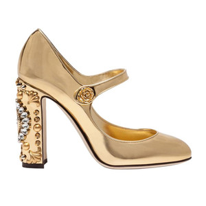 Goldspiegel Leder Runde TOE Mary Janes Designer Mode Verzierter Block Heel Plus Size Kleid Schuhe Silber Brautpumpen