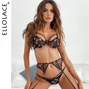 Ellolace Transparent Bra Lingerie Floral Embroidery Underwear Set Women Lace Bra Push up Underwire 3 Piece Sets Wholesale