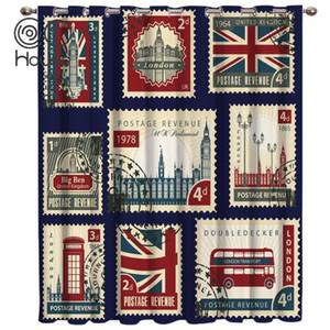 Vintage London Stamp Window Treatments Curtains Valance Bathroom Outdoor Kitchen Kids Window Treatment Sets Party1