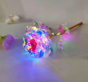 24K 금박 도금 로즈지도 무지개 꽃 골드 도금 장미 빛 발렌타인 데이 선물 크리스마스 웨딩 장식 GGA3767-4