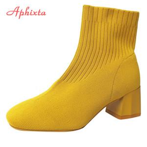 Aphixta Streç Kumaşlar Çorap Botları Kadınlar Için Ayakkabı 5.5 CM Kare Topuk Sarı Örgü Ayakkabı Elastik Cotton Çizmeler Bayan Ayakkabı C0202