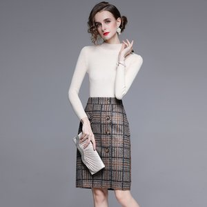 Fall 2020 new fashion stand-up collar long-sleeved stretch knitwear houndstooth wool skirt suit