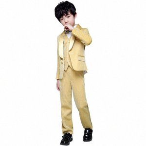 Flower Boy Wedding Dress Suit Sets Children Gold 3Pcs Catwalk Piano Costume Kids Blazer Vest Pants Shirts Clothes Sets H3Ke#