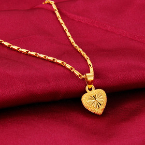 Heart Shape Clavicle 24k Yellow Love Pendant for Chain Women Gold Necklace Valentine's Day Fine Jewelry Gift