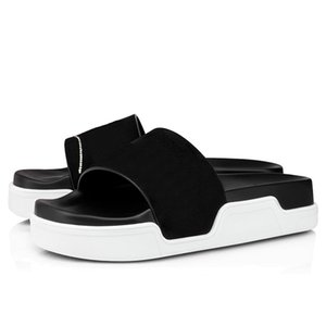 New red bottoms men slippers fashion slides triple black white pink spikes mens flat flip flops beach hotel platform sandals