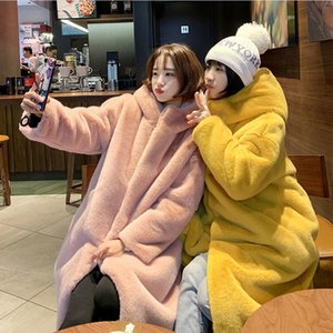 Winter Fur Jacket High-end Fashion Fur Coat Women Plush Fur Warm Jacket Female Imitation Mink Thick Long Hooded Large size Coat 200930