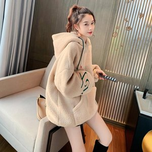 Fashion women's sweater 2020 winter thick and velvet lamb hair loose lazy style top trend