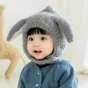 Bebê Orelhas de Coelho Plush Hat infantil Criança Cap Inverno Beanie chapéu morno Earflap bebê manter quente Hat GGD2719