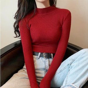 2020 Autumn Winter Women Sweaters Korean Chic Turtleneck Knitted Jumpers Ms. Tight Stretch Pullovers Crocheted Tops Clothes