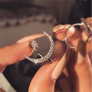 Jóias de moda clássica jóias 925 esterlina prata pavimentar branco claro 5a zirconia cúbica abrindo mulheres ajustáveis mulheres anel de lua estrela 122 o2