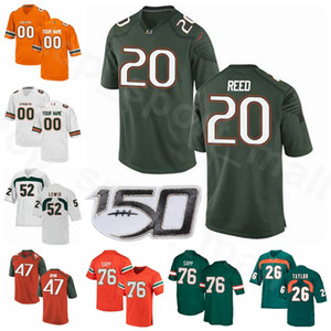Miami Hurricanes NCAA College Football 52 Ray Lewis Jersey 20 Ed Reed 26 Sean Taylor 47 Michael Irvin Warren Sapp Donne gioventù uomini