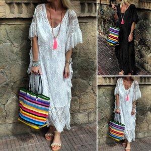 Plus Size Women Designer Dress Flare Sleeve V Neck Holiday Dresses Sexy Lace Party Long Dress
