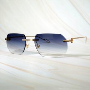 Venta al por mayor- Hombres Mujeres Gafas de sol Diseño retro de hombres Gafas de sol Amarillo Oval Lentes de Sol Mensles Rimless Sunglass Brand Gafas