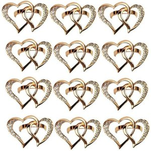 12 Pcs Love Heart-Shaped Napkin Ring, Wedding Napkin Buckle Zinc Alloy Ring Holders for Wedding Dinner Table Display1