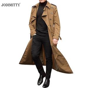 Jodimitty 2020 Trençkot Erkek Palto Casual Slim Fit Rüzgar kesici Artı boyutu Katı Uzun Ceket Erkekler Moda İlkbahar Ceket Homme