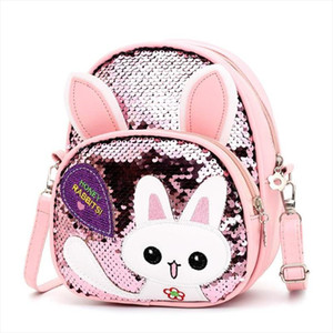 Cute Rabbit Ear Sequins Backpack Girls Kids School PU Leather Knapsack Kawaii Children Bag Bolsas Mochila Sac A Main Rucksack
