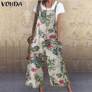 Женские комбинезоны Rompers Vonda 5XL летние женщины Свободные 2021 Сексуальные винтажные без рукавов Винтаж напечатанные танк Playsuits плюс размер офиса