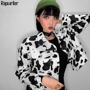 Rapwriter Fashion Milk Cow Print Cargo Jacket Women Streetwear Turn-down Collar Long Sleeve Big Pocket Bomber Coat Loose 201013