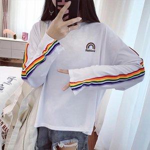 T shirts Rainbow Striped Kawaii Long Mouw Soft Loose Board Work Korean Style Womens Tea Beautiful Fashion Womens T shirt All match