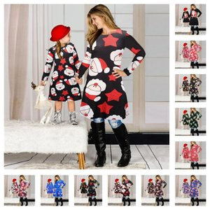 Christmas Family Matching Clothes Sets Mother Daughter Matching Dresses Santa Claus Skirt Christmas Print Parent-child Dress Outfits E101901