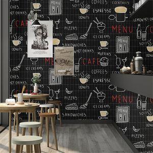 WELLYU High end Retro nostalgic letters black plaid wallpaper cafe burger tea shop green restaurant industrial wind wallpaper