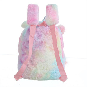 Bolso Arco iris con Peluche Unicorn Student Small Zipper Schoolbag New Toy Fur Kid Soft Dibujos Animados Mochila Girl Mini Ball Doll Mochila Ruvru