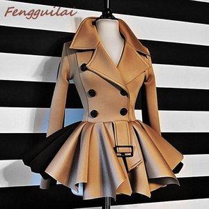 FENGGUILAI Winterkleidung Short Wolle Frauen Mantel koreanischen Herbst Woll Mode zweireihigen Jacke elegante Mischung Khak